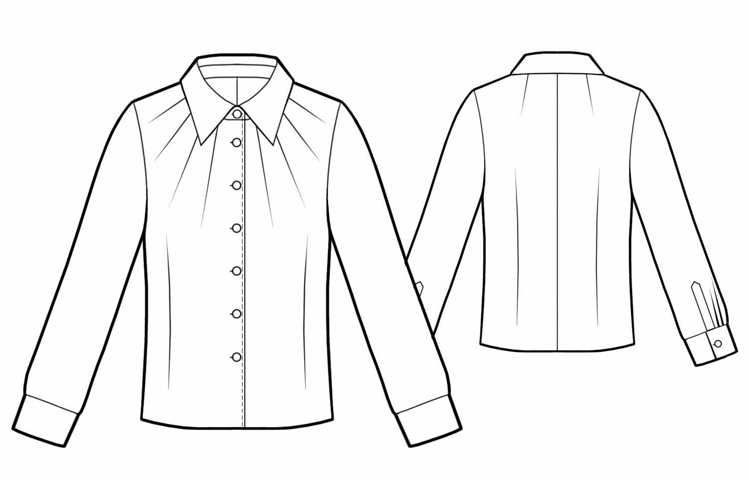Блузка с вытачкой лучами - Выкройка #5762
